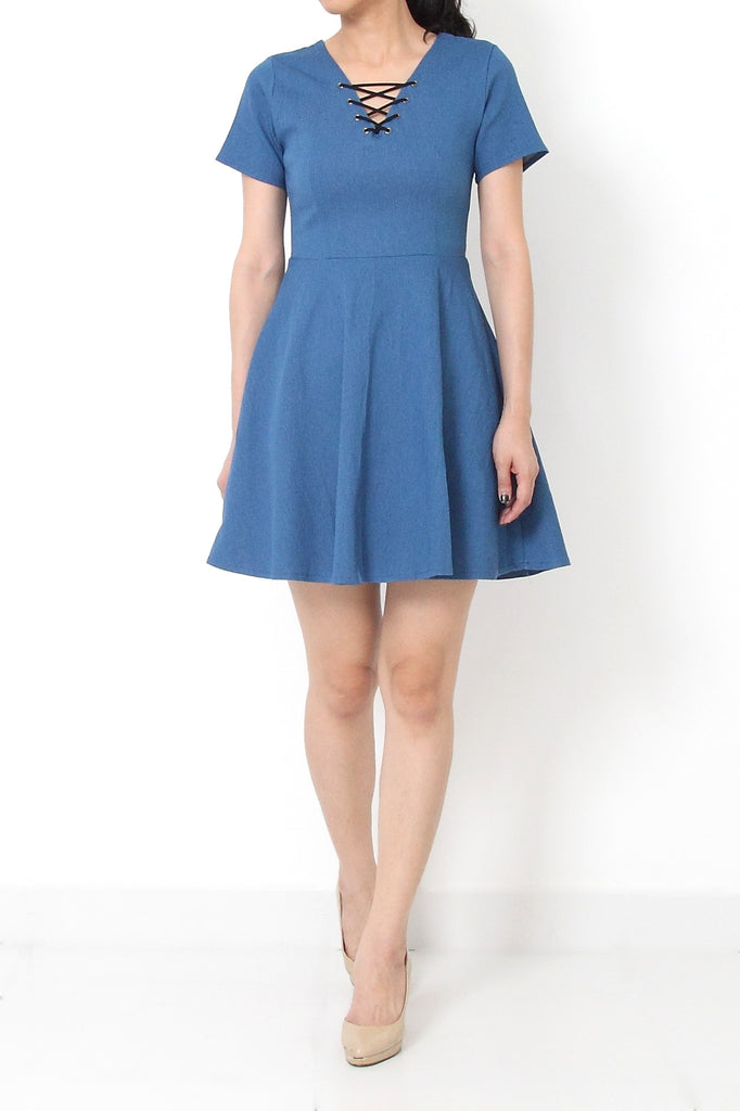 KATE Fit and Flare Denim Dress - S M