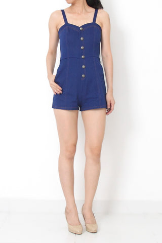 MOD Denim Romper Medium Blue