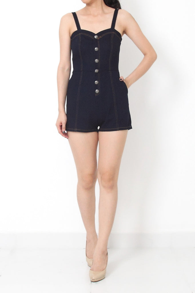 MOD Denim Romper Dark Blue