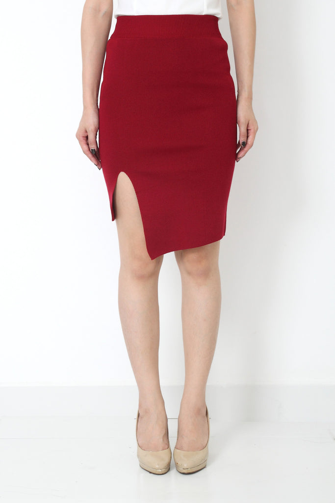 RILLA Asymmetrical Skirt Wine Red