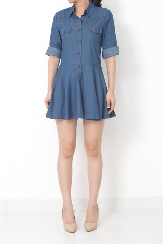 LEWIS Flare Denim Dress Medium Blue