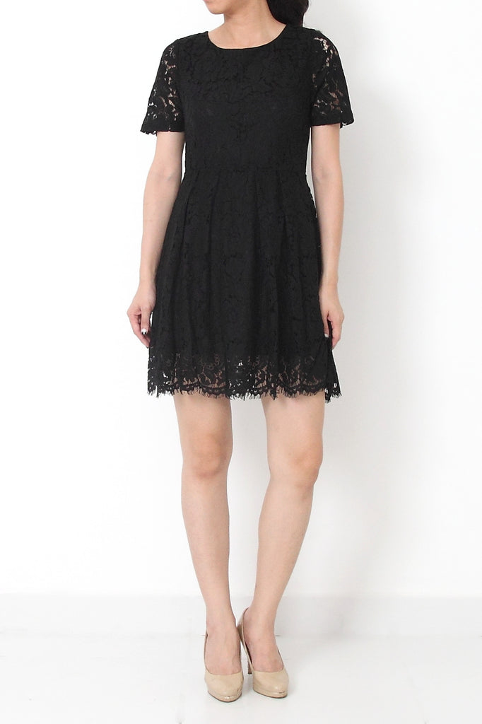 MIRIAM Cap Sleeve Lace Dress Black