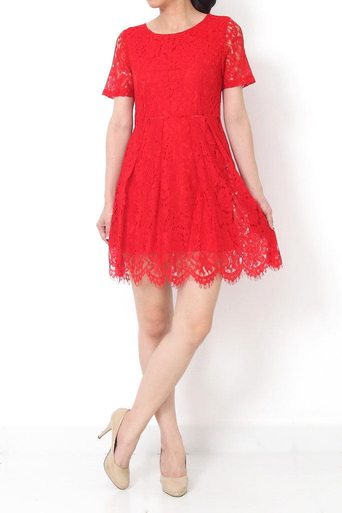 MIRIAM Cap Sleeve Lace Dress Red