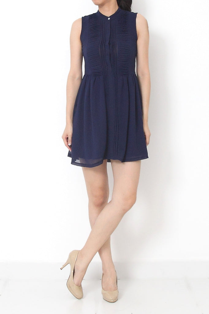 CHLOE Pleated Chiffon Dress Dark Blue