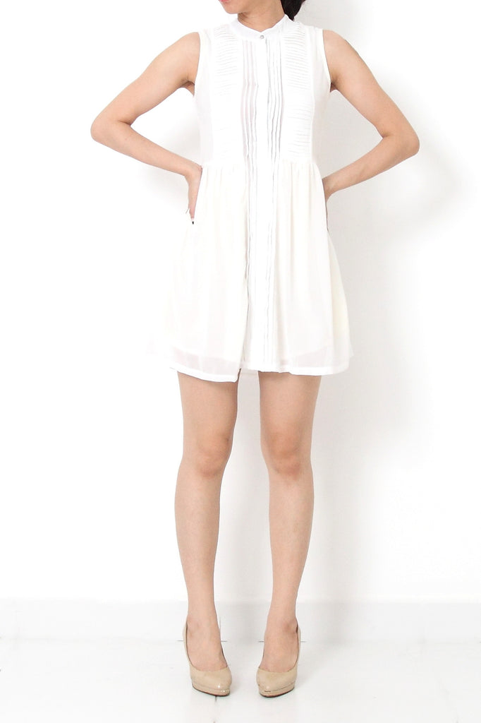 CHLOE Pleated Chiffon Dress White