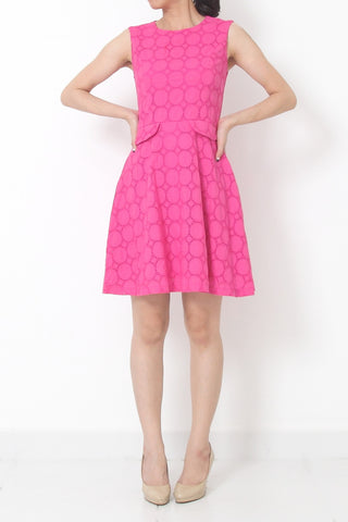 TEENA Fit and Flare Polka Dot Dress Pink - M L