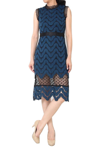 MISSONI Wave Lace Midi Dress Blue - XL