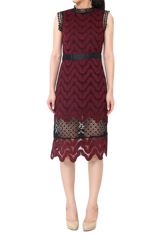 MISSONI Wave Lace Midi Dress Red - XL