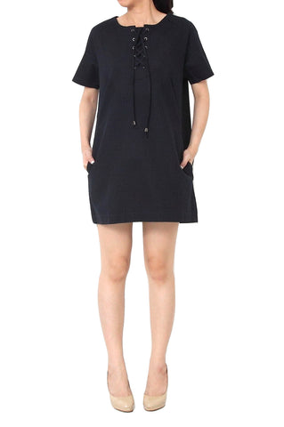 LAURENT A-Line Dress with Pockets Dark Blue - S