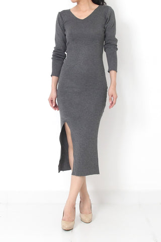 DAHNYA High Slit Maxi Knit Dress Gray