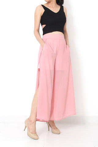 CAIA Sheer Chiffon Pants with Cutout Soft Pink - M