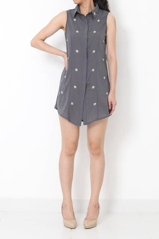 TEMECULA Embroidery Chiffon Shirt Dress Grey