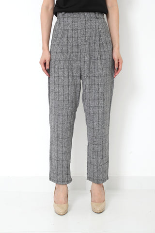 MILLIE Checked High Waist Pants Grey - L