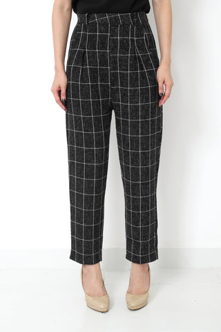MILLIE Checked High Waist Pants Black - S M L