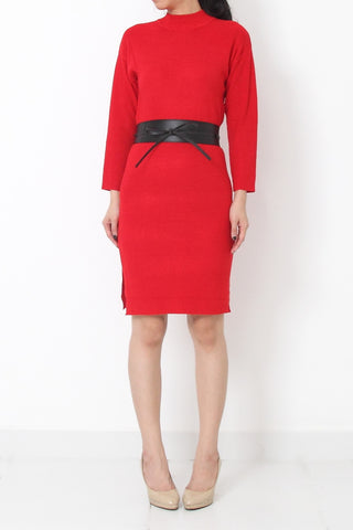 LEITH Knit Dress with faux leather belt Red