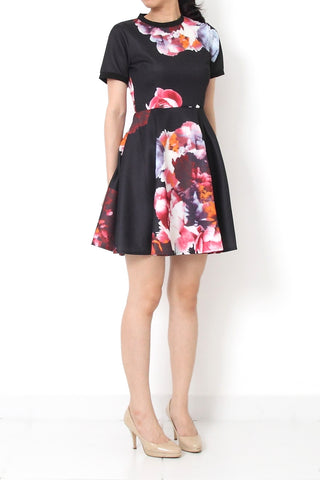 AMERIE Fit and Flare Floral Dress Black