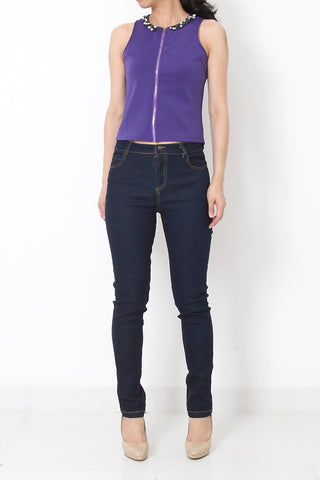 VLICIA Luxe Jewel-Neck Top Purple
