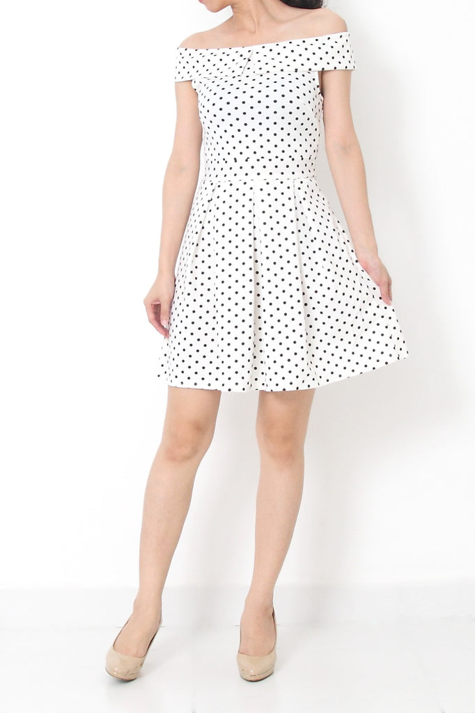 MIREILLE Polka Dots Off Shoulder Dress White