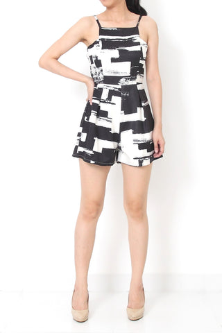 NERILLE Abstract Romper Black - S