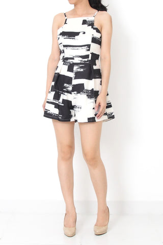 NERILLE Abstract Romper White - S M
