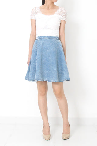 KATHE High-Waist Denim Skort Light Blue - S M