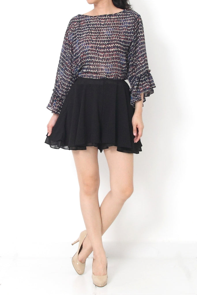 OLIVIA Chiffon Abstract Printed Top
