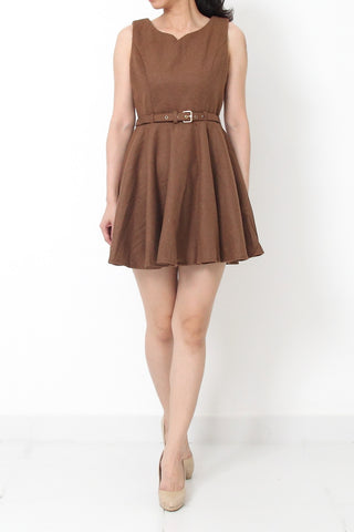 EMERY Belted Fit and Flare Dress Camel Brown