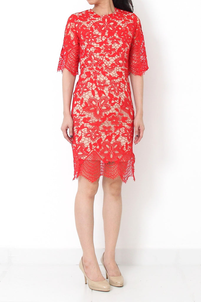 ZARITA Crochet Lace Dress Red - S
