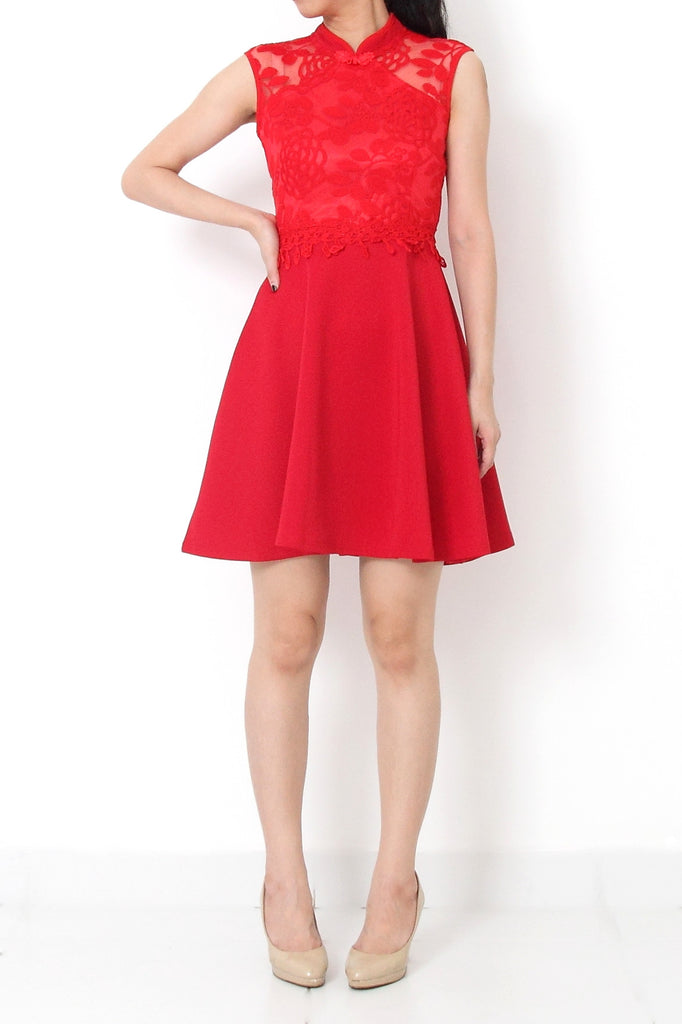 QING Lace Cheongsam Fit and Flare Dress Red - XL