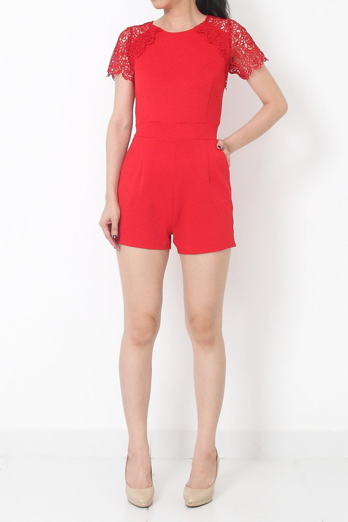 LUCCA Eyelet Lace Sleeve Romper Red