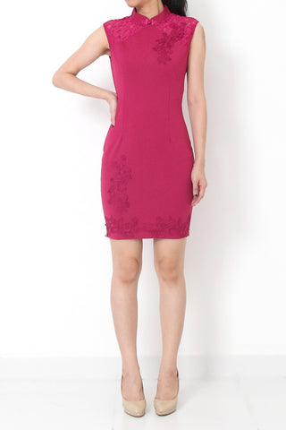 YUNN Bodycon Embroidery CheongSam Dress Pink - L