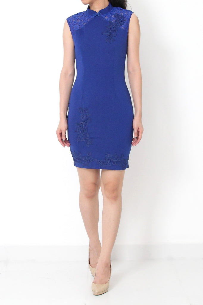 YUNN Bodycon Embroidery CheongSam Dress Blue - S