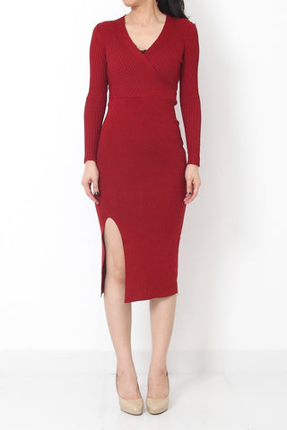 GELA Slit Maxi Knit Dress Wine Red