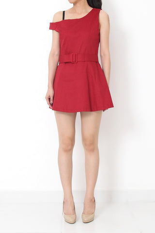 ELAIN Asymmetrical Belted Romper Red - S M