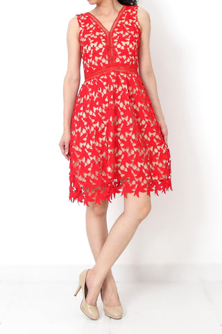 GUIPURE Lace Dress Red - S