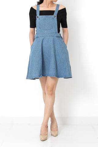 CHAMBRAY Fit and Flare Denim Overall Dress Light Blue - S