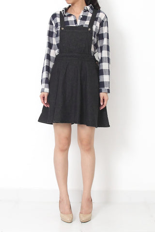 CHAMBRAY Fit and Flare Denim Overall Dress Black - S M