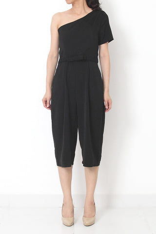 JOSEF On-Shoulder Ribbon Jumpsuit Black - S M