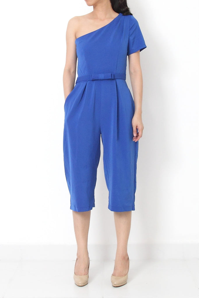 JOSEF On-Shoulder Ribbon Jumpsuit Cobalt Blue - S M L