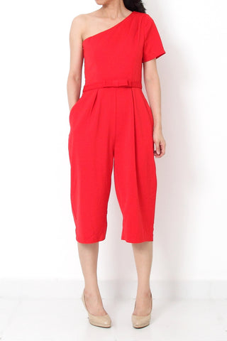 JOSEF On-Shoulder Ribbon Jumpsuit Red - S