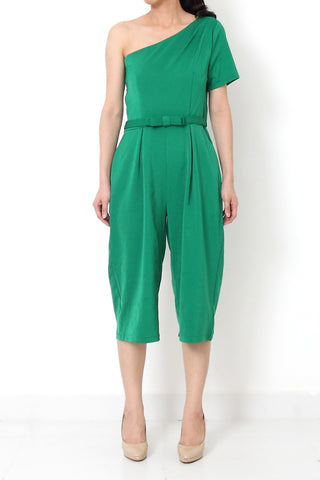 JOSEF On-Shoulder Ribbon Jumpsuit Emerald Green - L