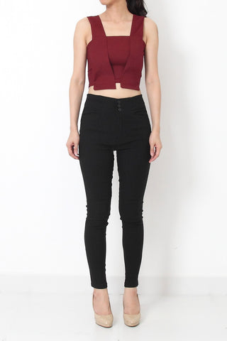 CHRISTIE Tailored Crop Top Wine Red