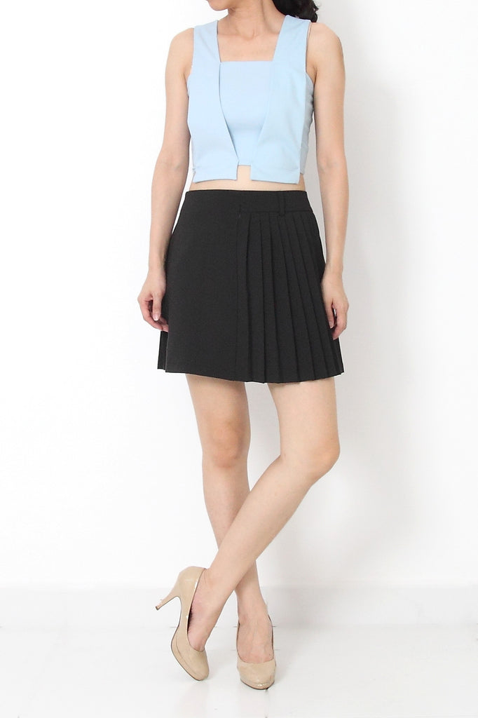 CHRISTIE Tailored Crop Top Sky Blue