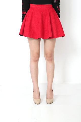 ENZO Pleated Suede Skirt Red - XS