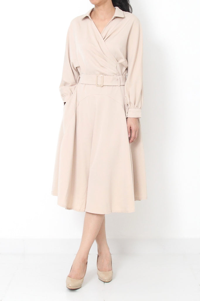 ACELINE Trench Dress Beige - S M
