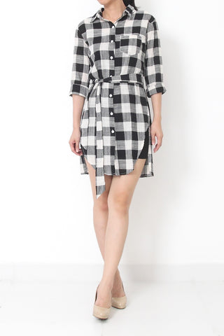 Esmée Tartan Shirt Dress Dark Black - S M