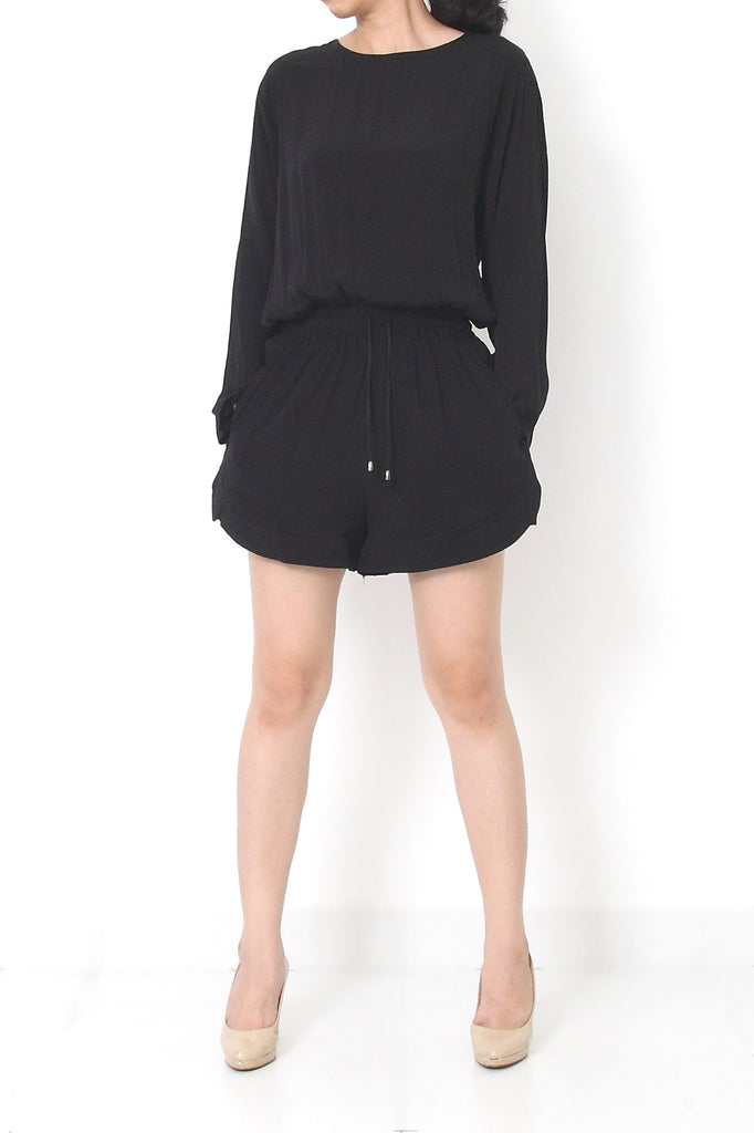 VIKTOR Back Cutout Romper Black- S M