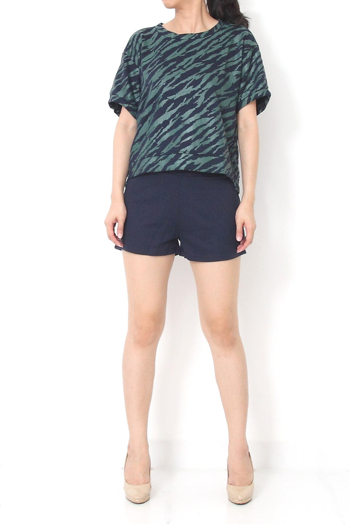 ZOE Navy Sporty Top + Pant Set Green Blue - M