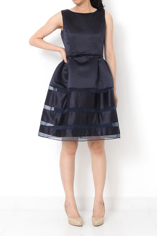 CAILYN Fit and Flare Satin Ribbon Dress Navy Blue - M