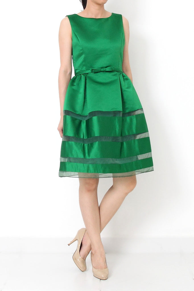 CAILYN Fit and Flare Satin Ribbon Dress Emerald Green - S